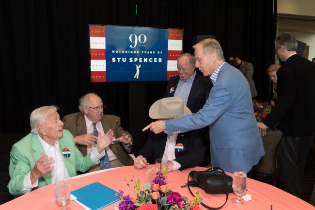 Ex California governor Pete Wilson points toward Stu Spencer at 90th birthday celebration