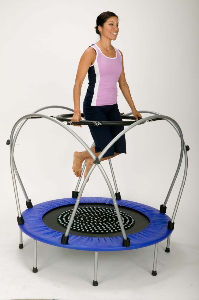 Lady using Funtek Therapeutic Trampoline